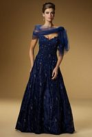 Rina di Montella 1321-A Royal Blue Mother of Bride Dress with Shawl image
