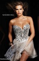 Size 4 Gold Sherri Hill Beaded Corset Short Prom Party Dress 1403 image