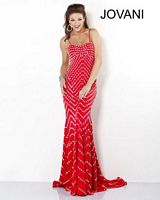 Size 6 Coral-Red Jovani 1417 Studded Gown with Open Back image
