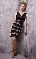Jovani Deep V Neck Lace Mini Dress 14191 image