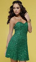 Emerald Green Beaded Scala Cocktail Dress with Cut-Out Back 14241 image