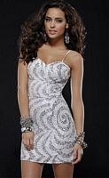 Scala 14243 Swirl Silver Sequin Homecoming Cocktail Dress image