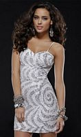 c7ad433c4d1 Ivory and Silver Beaded Cocktail Dress for Homecoming Scala 14243