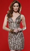 a9a978bf93d Scala Dark Lead Sequin Cocktail Dress with Plunging Neckline 14244