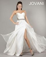 Jovani 1427 Ruched Top Gown with Exposed Back image