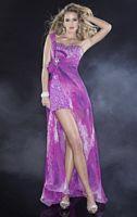 Panoply Print Chiffon Evening Dress with Open Side Slit 14411 image