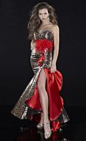 Panoply Foil Leopard Print Red Evening Dress 14418 image
