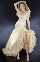 Panoply Metallic Halter Evening Dress with Ruffle Edge 14421 image