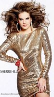Sherri Hill Long Sleeve Gold Sequin Cocktail Dress with Cowl Back 1450 image