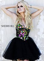 Sherri Hill Black Multi Jeweled Short Prom Dress 1477 image