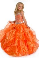 Party Time Perfect Angels 1502 Girls Ruffle Organza Pageant Dress image