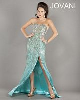 Jovani 1514 High Slit Formal Gown with Beading image