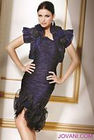 Jovani Ruched Cocktail Dress with Ruffle Rosettes Skirt 151508 image