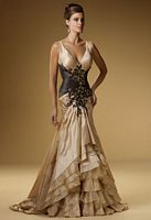 Rina di Montella 1517 Striking Taffeta Formal Dress with Lace Applique image