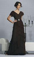 Jovani Short Sleeve Tiered Chiffon Evening Dress 15457 image