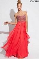 Jovani 1560 Empire Strapless Chiffon Evening Dress image