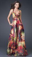 La Femme Print Chiffon Beaded Prom Dress 15952 image