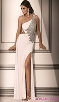 Jovani Evenings White Silver One Shoulder Gown 159709 image