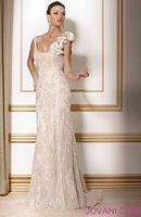 Jovani Ivory Gold One Shoulder Evening Dress with Flowers 159918 image