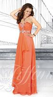 Size 2 Orange Tiffany Designs 16012 Ruched Chiffon Evening Dress image