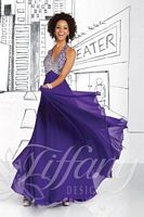 Size 2 Butter Tiffany 16026 Beaded Halter Evening Dress image