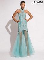 Jovani 1656 Lace Mermaid Halter Dress image