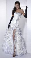 Tiffany Designs Organza Ruffle Mermaid Evening Dress 16646 image