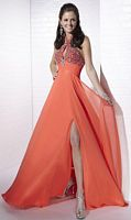 Tiffany Designs Halter Sequin Chiffon Evening Dress with Keyhole 16652 image