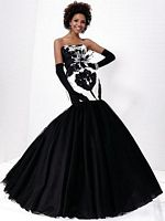Tiffany Designs Black and White Taffeta Mermaid Prom Dress 16661 image