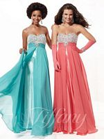 Tiffany 16778 Split Chiffon Circle Skirt Empire Dress image