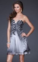 La Femme Black and White Zebra Print Short Homecoming Dress 16859 image
