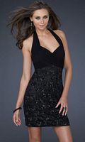 Exquisite Black Jersey Sequin Halter Cocktail Dress La Femme 16933 image