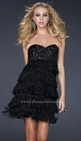 La Femme Black Shredded Chiffon Short Prom Dress 17078 image