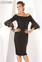 Jovani Evenings Black Cocktail Dress with Bell Sleeves 171050 image