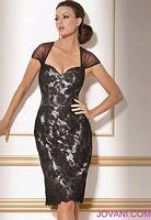 Jovani Black Cap Sleeve Cocktail Dress with Open Diamond Back 171064 image