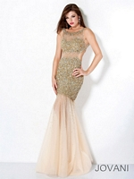 Jovani 171100 Tulle Gown with Sheer Panels image