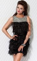 Jovani Black and Silver Jeweled Feather Dress for Homecoming 171155 image