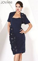 Jovani Ruched Cocktail Dress with Flowers and Bolero 171168 image