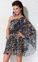 Jovani One Shoulder Animal Print Chiffon Short Dress 171175 image