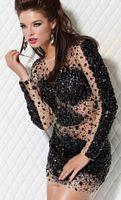 Jovani Long Sleeve Black Nude Jeweled Cocktail Dress 171300 image