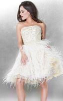 Jovani Beaded Feather Short Homecoming Party Dress 171304 image
