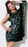 Jovani Sequin Print One Shoulder Draped Cocktail Dress 171344 image