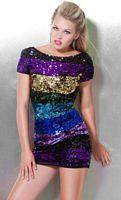 Jovani Short Sleeve Colorful Sequin Stripe Mini Dress 171471 image