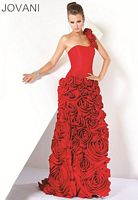 Jovani Evenings One Shoulder Gown with Ruffle Skirt 171685 image