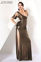 Jovani Gold Draped Sleeve Low Cut Evening Dress 172019 image