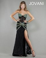 Jovani 1724 Formal Dress with Lace Illusion Corset image