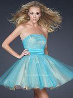GiGi Aqua Nude Tulle Short Prom Party Dress 17271 by La Femme image