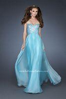 Size 10 Aqua La Femme 18342 Chiffon Sequin Piping Gown image