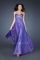 Size 6 Sapphire La Femme 18401 Chiffon A-Line Empire Gown image