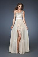 Size 0 Nude La Femme 18945 High Low One Shoulder Sequin Chiffon Gown image